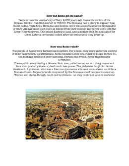 How did Rome get its name? - 4Lecours Class Site