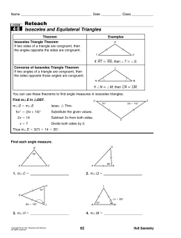 Reteach Isosceles and Equilateral Triangles