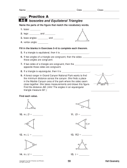 Practice A Isosceles and Equilateral Triangles