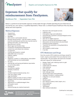 Expenses that qualify for reimbursement from FlexSystem.