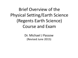 Brief Overview of the Regents Earth Science Program