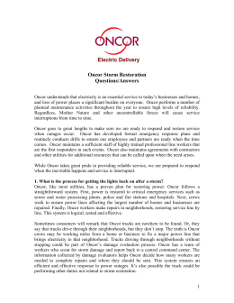 Oncor Storm Restoration Questions/Answers