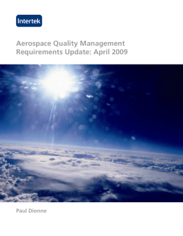 Aerospace Quality Management Requirements Update