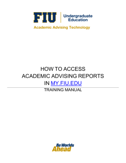 HOW TO ACCESS ACADEMIC ADVISING REPORTS IN MY.FIU.EDU
