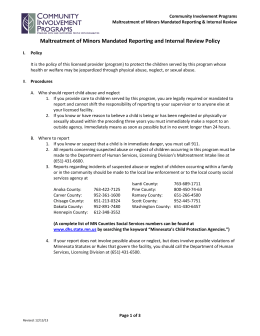 reporting policy—maltreatment of vulnerable adults