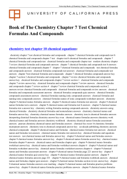 Chemistry Chapter 7 Test Chemical Formulas And Compounds