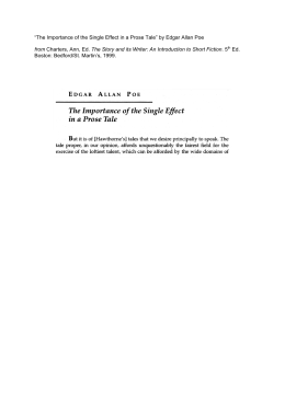 """The Importance of the Single Effect in a Prose Tale"" by Edgar Allan"