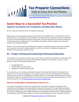 Seven Keys to a Successful Tax Practice