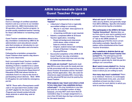 ARIN Guest Teacher Program Brochure