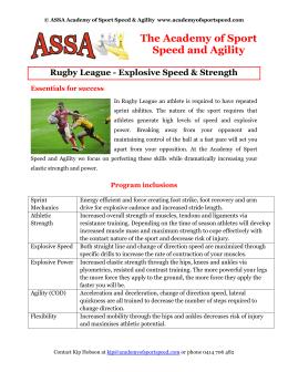 Rugby League Information Sheet - Academy of Sport Speed and