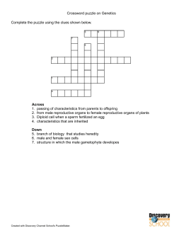 Crossword puzzle on Genetics Complete the puzzle