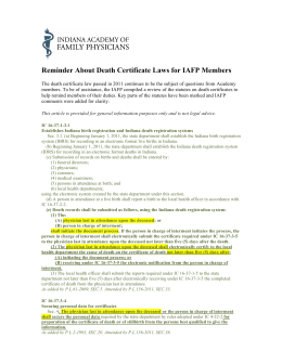 Reminder About Death Certificate Laws for IAFP Members