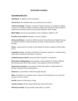 Social Studies Vocabulary Government and Civics amendment