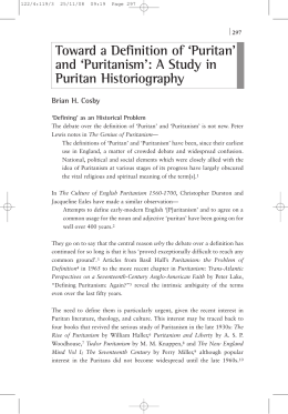 Toward a Definition of `Puritan` and `Puritanism`: A