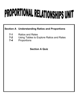 Section A Understanding Ratios and Proportions 7