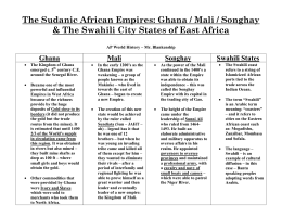 The Sudanic African Empires - Harrison Humanities