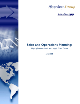 Sales and Operations Planning: Aligning Business Goals