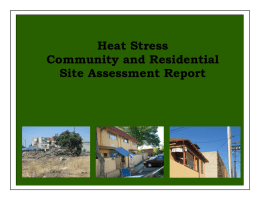 Heat Stress Community and Residential Site Assessment Report