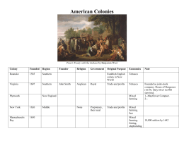 American Colonies Chart