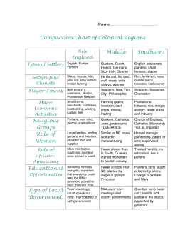 Comparison Chart of Colonial Regions Middle Southern Religious
