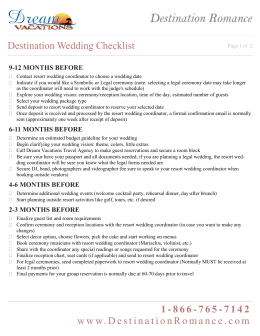Destination Wedding Checklist 1-866-765