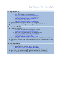 History Homework Plan – Summer Term