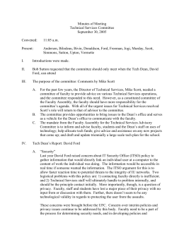 Minutes of Meeting Technical Services Committee September 30