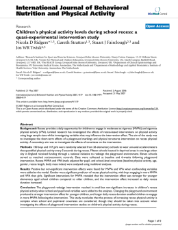 Children`s physical activity levels during school recess: a quasi