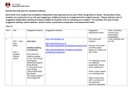 Guided Learning Tasks English Literature