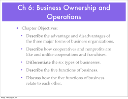 Ch 6: Business Ownership and Operations