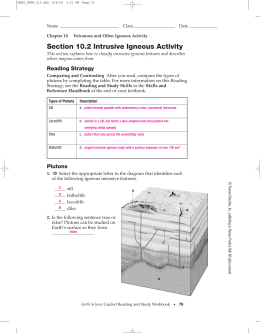 Section 10.2 Intrusive Igneous Activity