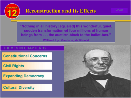 Reconstruction and Its Effects 12