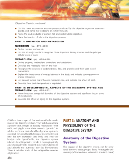 PART I: ANATOMY AND PHYSIOLOGY OF THE DIGESTIVE SYSTEM
