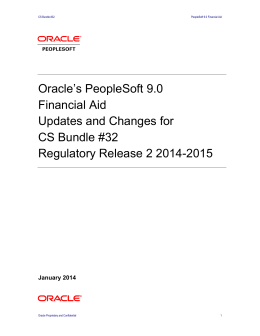 Oracle`s PeopleSoft 9.0 Financial Aid Updates and Changes for CS