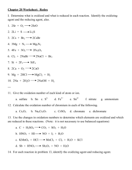 Chapter 20 Worksheet: Redox I. Determine what is oxidized and