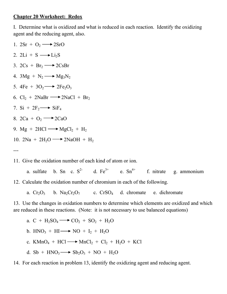 Worksheet 10 Redox Reactions worksheet 10 redox reactions – Balancing Redox Equations Worksheet