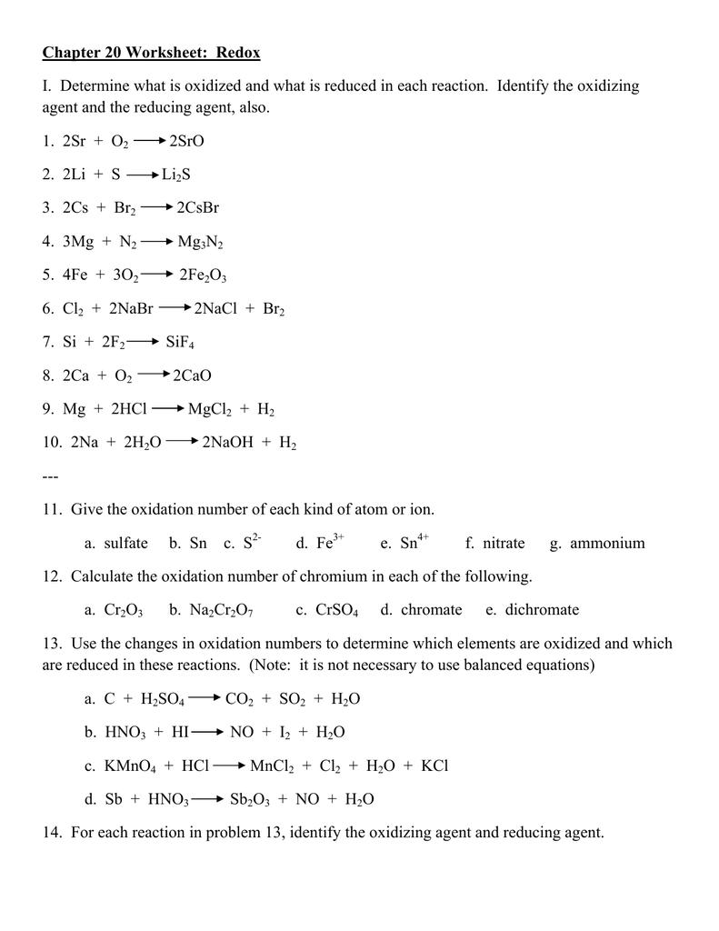 Worksheet 10 Redox Reactions worksheet 10 redox reactions – Oxidation Reduction Reactions Worksheet
