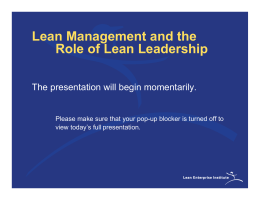 Lean Management and the Role of Lean Leadership