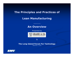 The Principles and Practices of Lean Manufacturing An Overview
