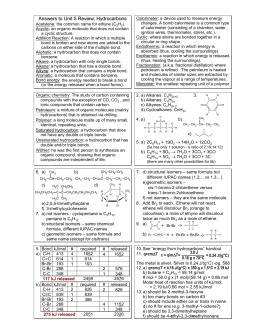 Chemistry Unit 5 Review Answers