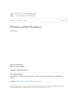 Whitman and the Presidency - Iowa Research Online