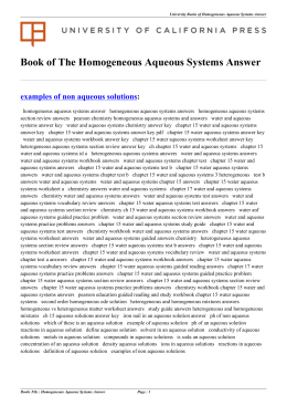 Homogeneous Aqueous Systems Answer