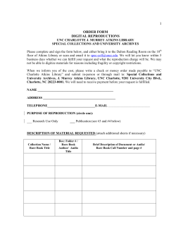 1 order form digital reproductions - J. Murrey Atkins Library