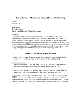 An Introduction to Behavioral Experimental Research in Accounting