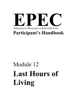 Last Hours of Living - EndLink-Resource for End of Life Care