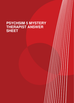 PSYCHSIM 5 MYSTERY THERAPIST ANSWER SHEET