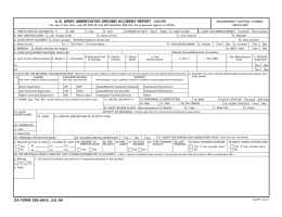 U.S. ARMY ABBREVIATED GROUND ACCIDENT REPORT (AGAR