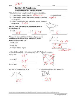 6-6 practice trapezoids and kites answers geometry