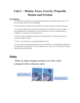 Unit 2 – Motion, Force, Gravity, Projectile Motion and Friction