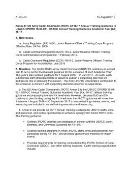 USACC JROTC AY 16/17 Training Guidance